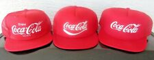 Lot Of 3 Vintage Coca-Cola 1980's Coke Snapback Caps Trucker Hats Three Total