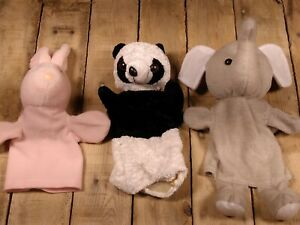 Three Puppets Black Elephant White Panda Pink Rabbit Cloth