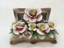 Vintage Italy Nuova Capodimonte Porcelain Floral Bouquet Flowers w/Treasure Box