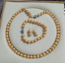 8mm AAA Gold  Shell Pearl necklace Bracelet Earring Set