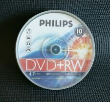 Philips DVD+RW 120 Mins 4.7GB 4X Speed Recordable Rewritable10 Pack Spindle NEW