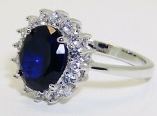 STERLING SILVER 925 BLUE SAPPHIRE DIAMOND DIANA KATE CLUSTER  LADIES RING SIZE N