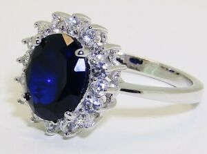 STERLING SILVER 925 BLUE SAPPHIRE DIAMOND DIANA KATE CLUSTER  LADIES RING SIZE O