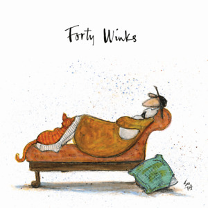 Sam Toft Forty Winks Canvas Art Print Mounted Wooden Frame Picture Cat Dog Gift