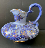 VNTG Hand Painted Capri Blue Gold Floral Made Holland Vase with Handle Pitcher