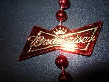 BUDWEISER Red Bead mardi gras Necklace craft beer brewing brewery bud light
