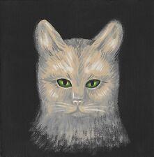 4x4 print of painting spirit BLACK CAT HALLOWEEN GHOST RYTA FOLK ART GOTHIC FALL
