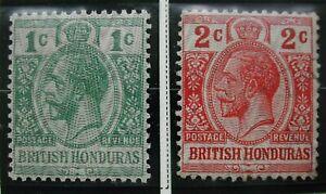 1915 British Honduras Stamps, Scott 85 1c & 86 2c  King George V, with Moire