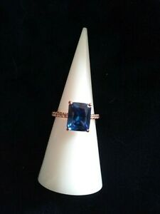 ring bomb party 2716 sapphire 3x rose gold sz6 srp$172
