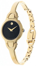 $695 Movado Kara Black Dial Yellow Gold PVD Ladies Watch 0606936
