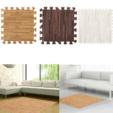 9pcs Imitation Wood Soft Foam Floor Mats Gym Exercise Garage Home Kids Play Pads