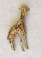 Vintage Giraffe  Brooch Pin enamel gold  Tone Metal
