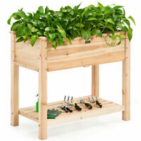 Topbuy Raised Garden Bed Elevated Wood Planter Box Stand for Vegetable Flower