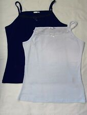 TWIN PACK 2x LADIES PLUS SIZE PLAIN COTTON L VEST TOP CAMISOLE LACE 18-20