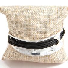 Cable de múltiples Negro Pulsera Brazalete de plata antigua joyería contemporánea en capas