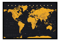 World Map In Black & Gold Framed Cork Pin Notice Board With Pins