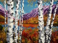 Art original  oil painting  Birch trees forest woods birches autumn large