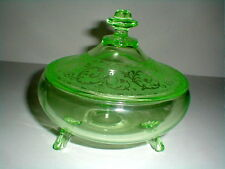 Cambridge Glass #300 Emerald Green Covered Candy Dish w #704 Etch 1930s