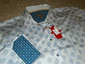 Luciano Visconti Dot Blue White Shirt NWT 3XL