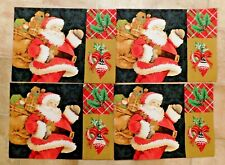 "Trim A Home Santa Claus & Bag Holiday Christmas Placemats Set of 4 New 13"" x 18"""