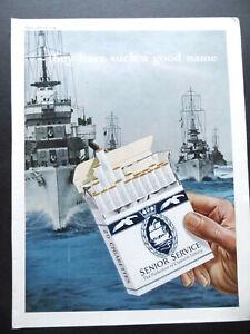 Vintage 1950s advert SENIOR SERVICE cigarettes smoking Navy ships / Schweppes