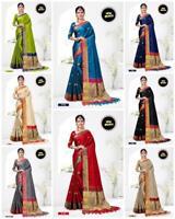 Cotton Silk Saree Weaving Jacquard Sari Blouse Indian Traditional Women's Wear