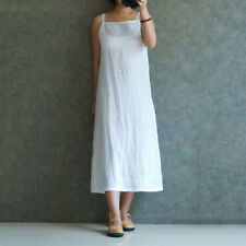 Women Ladies Vintage Short Sleeve Casual Cotton Linen Loose Slit Midi Long Dress
