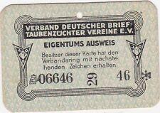 Eigentums-Ausweis Verband Deutscher Brieftaubenzüchter VDB ca. 1960er Dokument