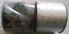 """(2) Merry Brite Wire Edge Ribbon - Snowflakes & Trees - 2.5"""" X 5 Yds. Each - New"""