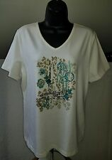 Womens BRECKENRIDGE white teal taupe embellished Cotton tee sz L