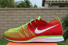 67230aff3c4b NIKE FLYKNIT TRAINER + PLUS SZ 13 UNIVERSITY RED ELECTRIC GREEN WHITE  532984 631
