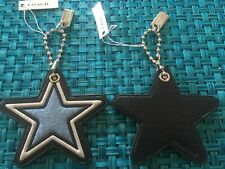 Coach Leather GLITTER STAR Key Fob Chain 26903 Bag Charm $45 Blue Silver
