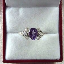 1.68ct Natural Purple Amethyst & White Topaz Sterling Silver Ring US (8) AU (Q)