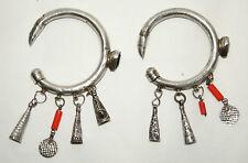 boucles d'oreilles anciennes Berbères en argent massif poinçon bélier D 6,3 cm