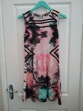 M & S Limited Edition Womens Black/Pink Sleeveless Skater Dress Size 6 New