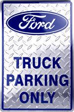 """Ford Logo Truck Parking Only Blue Large 12"""" x 18"""" Metal Garage Novelty Sign"""