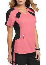 Grey's Anatomy Style GVST003 V-Neck Color Block Scrub Top in Coral/Black, Size S