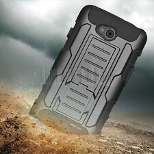 For LG Ultimate 2 L41C Rugged Hybrid Armor Impact Hard Cover Case Clip Holster