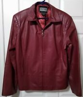 Clio Womens Leather Jacket Zip Up Pockets Size 12 Red