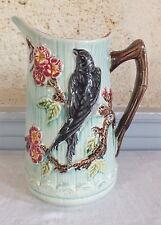 barbotine 19eme pichet décor oiseaux fleurs pitcher