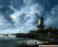 Dream-art Oil painting nice harbor landscape & sail boats Windmill before storm