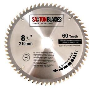 Saxton TCT Circular Wood Saw Blade 210mm x 30mm x 60T Mitre for Bosch Festool