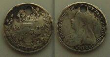 Escasa Plata three-pence moneda... Reina Victoria-fecha `s 1893, Coin se esconda
