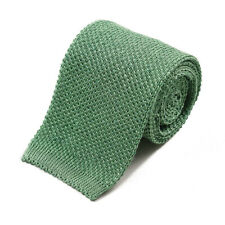 New $195 ISAIA NAPOLI Melon Green Knit Silk and Linen Tie