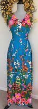 Vtg 1960's ALICE POLYNESIAN FASHIONS Perma-Press Hawaiian-Long Floral Dress 4/6
