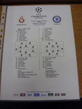 26/02/2014 Colour Teamsheet: Galatasaray v Chelsea [Champions league] . Thanks f