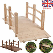 More details for wooden garden bridge lawn décor stained finish arc outdoor pond walkway 150cm