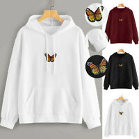 ❤️Women Butterfly Sweatshirt Long Sleeve Pocket Pullover Hoodie Tunic Top Blouse
