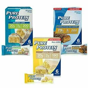 Pure Protein Bars High Protein Dessert Snacks Energy Low Sugar 1.76oz x 18 pack