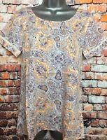NEW FAT FACE 10 Orange Hannah Sunset Paisley Short Sleeve Long Tunic Blouse Top
